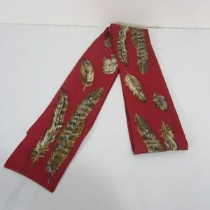Talbots 100% Silk Twilly Scarf Red Feather Print